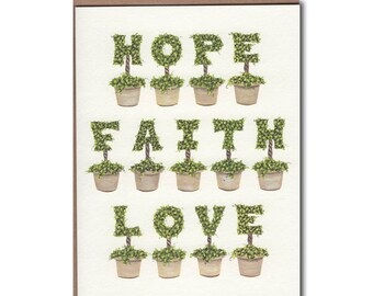 Hope Faith Love Notecard - Inspirational Card - Inspirational Stationery