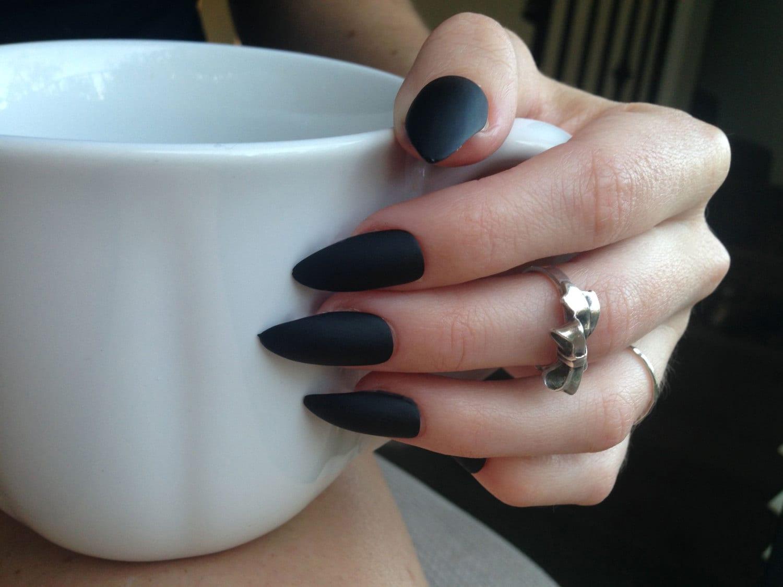 24 Matte Black Stiletto nails matt black nails Matte black   Etsy