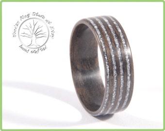 Black Walnut Thin Seashell Infinity Ring Inlay, Rustic Engagement ring, Eternity ring