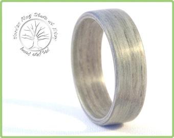 Wooden ring, wooden wedding band, ash tree ring, ash ring. Silver alternative. Tree engagement ring, wedding ring, anniversary gift.