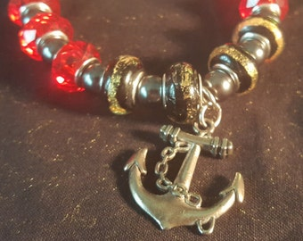 Red and Black Bead Anchor Bracelet
