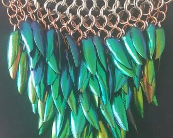 Chandelier Jewel Beetle Wing Choker