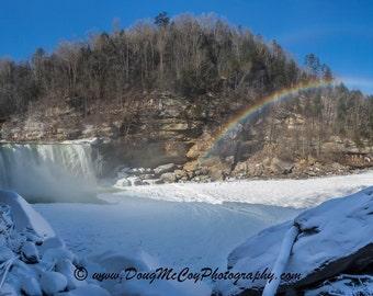 Snowy Rainbow at Cumberland Falls #4117