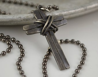 Rustic Cross Necklace - Christian Jewelry - Gift for Him - Cross Design by Korey Burns