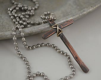 Thin Rustic Cross Necklace - Christian Jewelry - Gift for Him - Cross Design by Korey Burns