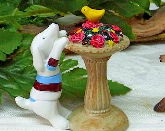 Dog Figurine Puppy Figurine Minature Birdbath Fairy Garden Dog Fairy Garden Kit Pedestal RED Roses
