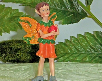 BOY FAIRY FIGURINE. Fairy with Strawberry. Handsome Sparkly Fairy. Forest Fairy.