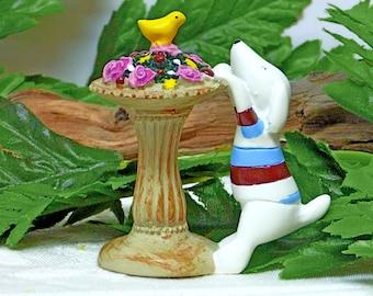 Miniature Resin Dog Figurine.  Birdbath with Bird and Flowers Figurine. Fairy Garden Dog. White Dog Figurine.Mini Garden Pedestal.ROSE Roses