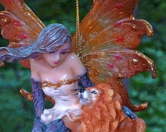 FAIRY Wind Chime. Wind Fairy with her Lion Cub. Sparkly Fairy. Fairy Figurine Wind Chime