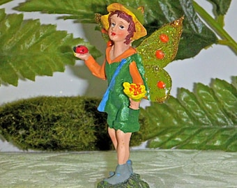 BOY FAIRY FIGURINE. Fairy with Miniature Flowers and Ladybug. Handsome Sparkly Fairy. Forest Fairy.