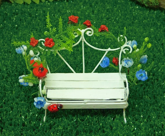 Admirable Fairy Bench White Outside Bench White With Scrolls Red And Blue Flowers Cardinal Ladybug Fairy Bench Outside Or Inside Andrewgaddart Wooden Chair Designs For Living Room Andrewgaddartcom