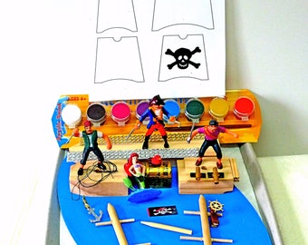 Diy Pirate Ship Party Craft Kit Pirate Party Model Ship Kit Miniature Pirates Mermaid Ships Wheel Anchor Treasure Chest HIDDEN TREASURE HUNT