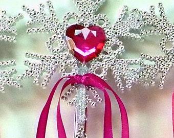 Fairy Wand BRIGHT FUSCHIA Wand SILVER Princess Wand Fairy Charm Heart Wand Childrens Fairy Wand Celestial Wand Heart Wand