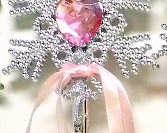 FAIRY WAND PINK Princess Wand Silver Fairy Charm Wand Heart Wand Mystical Wand Celestial Wand & Heart Fairy Wand Costume Wand