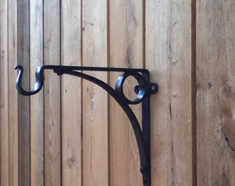 Hanging basket bracket, hand forged in Shropshire. Blacksmith hand made.