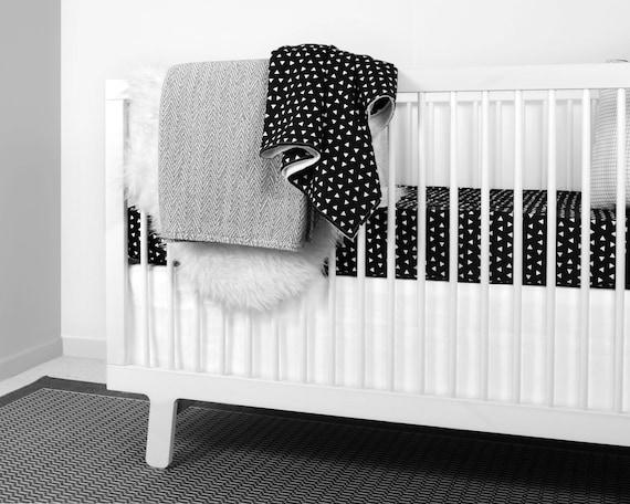 Modern Crib Bedding Black And White, Black And White Aztec Nursery Bedding