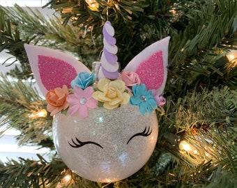 Personalized Unicorn Christmas Ornament, Glass Ornament, Shatterproof Plastic Ornament