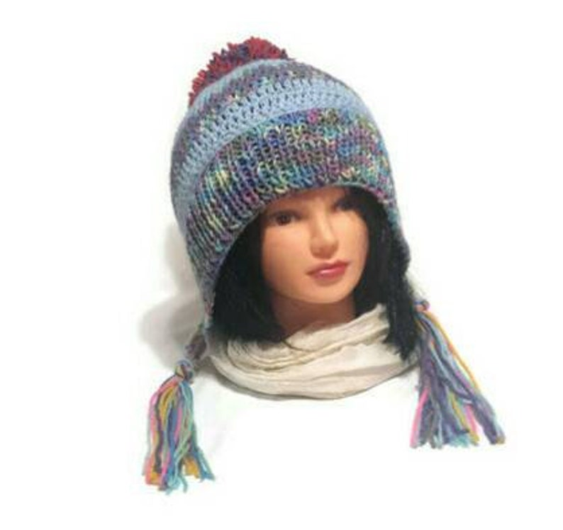 9fe422b0804 Women Knit Ear Flap Hat Split Brim Braids or Tassels Pompom