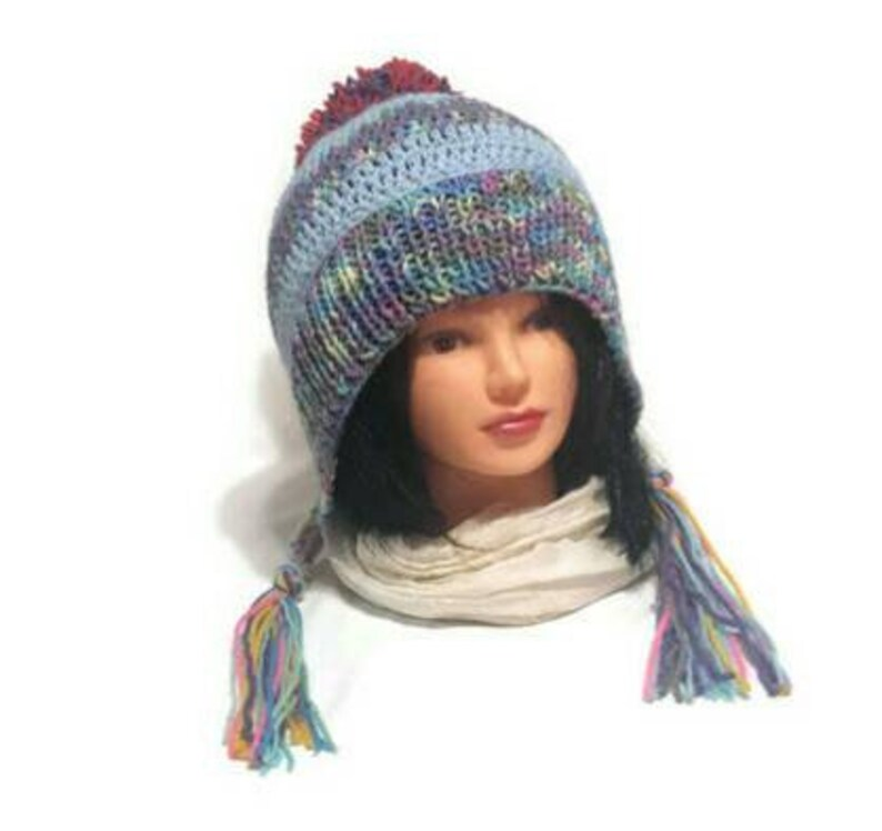 Women Knit Ear Flap Hat Split Brim Braids or Tassels Pompom  7f39f707b251