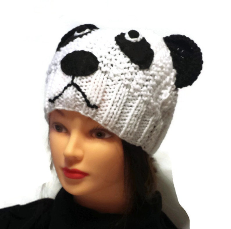 Knit Panda Hat Women Animal Cap Adult Teen Beanie Knitted  cf5c0e967c8e
