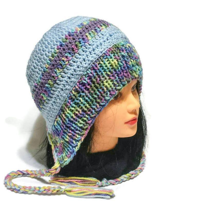fb140a6204a Women Knit Ear Flap Hat Split Brim Braids or Tassels Pompom