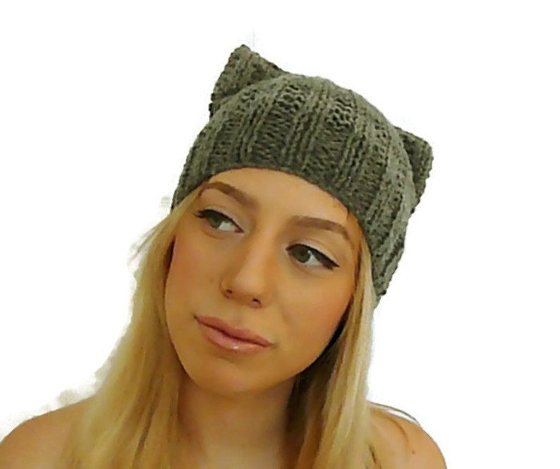 b1da05ba942 Knit Cat Hat Cat Like Toque Animal Ear Beanie Cat Ears