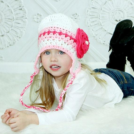 836bbc7cbdd Crochet Girl Hat with Large Flower Ear Flap Beanie Children