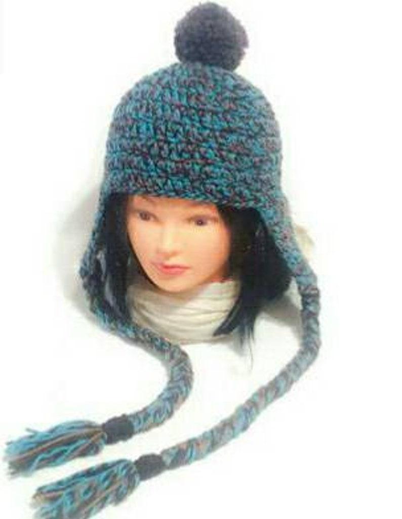 7261e7298cb894 Earflap Woman Pompom Hat Unisex Chullo Beanie Crochet | Etsy