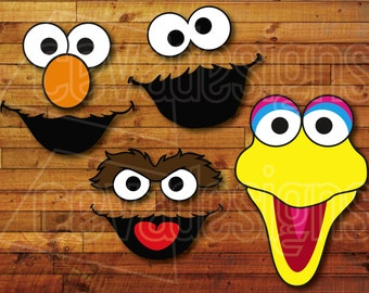 Sesame Street Birthday Party Decoration 4 Printable DIY Cutout Face Templates For Pompoms Or Balloons Elmo Cookie Monster Big Bird