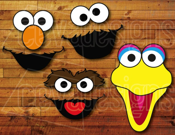 Sesame Street Birthday Party Decoration 4 Printable DIY Cutout Face ...