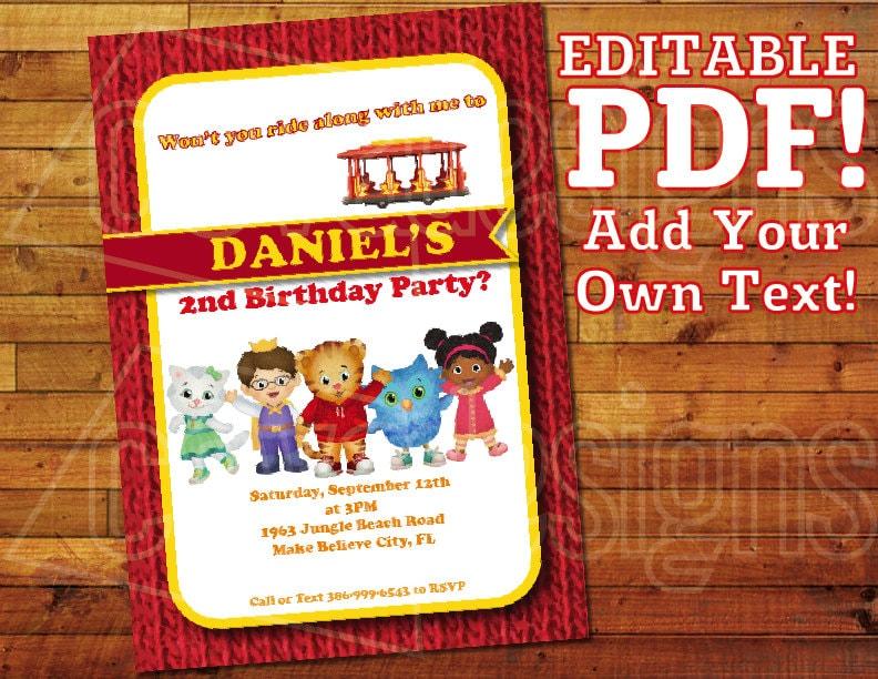 Printable Daniel Tiger Invitation For Birthday Party 5 X 7 Editable PDF Instant Digital Download