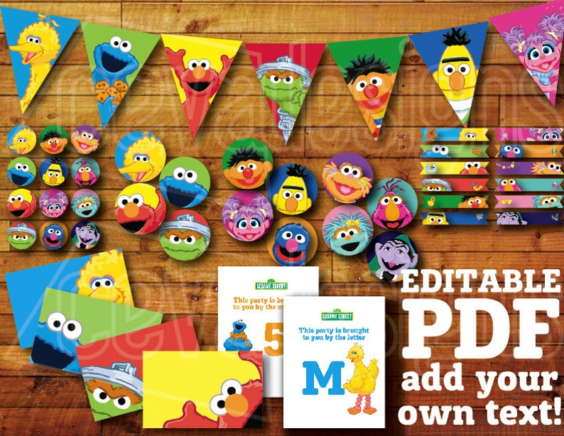 60+ pages Printable Sesame Street Birthday Decoration / Sesame Street Party  Decor Instant Digital Download with Elmo Banner / Bunting