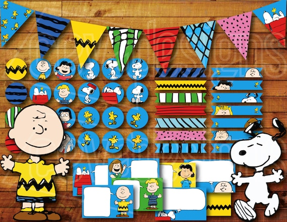 Printable Snoopy Birthday Party Decoration Peanuts Charlie Brown Birthday Party Decoration Instant Digital Download With Banner Bunting