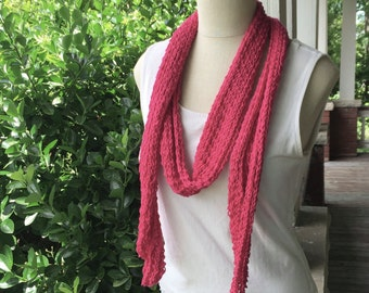 SALE - Hot Pink Lace Spring Scarf - Long, Skinny Lacy Summer Scarf in Lightweight Raspberry Pima Cotton