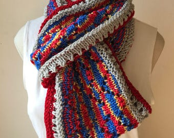Wonder Woman Scarf - Long Infinity Scarf Superhero Inspired - Handknit Cowl in Red, Blue, Silver