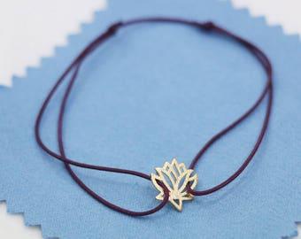 lotus bracelet,thread bracelet,purple cord lotus flower jewelry,wrapped yoga bracelet,adjustable wish bracelet,spiritual yoga jewelry