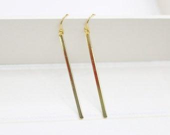 Minimalist Gold Earrings  Gold Skinny Bar Earrings Simple Bar Dangle Earrings long drop earrings petite earrings everyday jewelry
