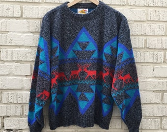 80s Sweater. 1980s Reindeer Pullover. Grey, Blue, Red. Large