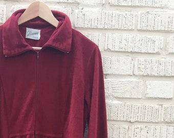 60s Robe. 1960s Lisanne Loungewear Womens Robe   House Dress. Maroon. Long  Sleeve. Medium. Large. 6d76c2a4b