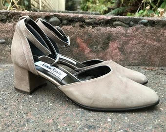 Vintage Suede Heels With Ankle Strap. Neiman Marcus Gray Pumps With Buckle. Size 7.