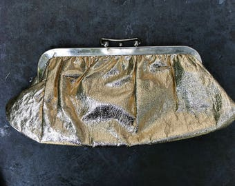 Vintage Metallic Gold Clutch. Large Evening Clutch. Purse.