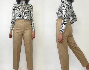 Large L Warm Vintage Breeches 80s Wool Blend Striped Capri Pants