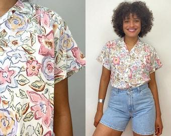 Vintage White Cap Sleeve Retro Shirt Extra Large 80s Floral Button Up Blouse