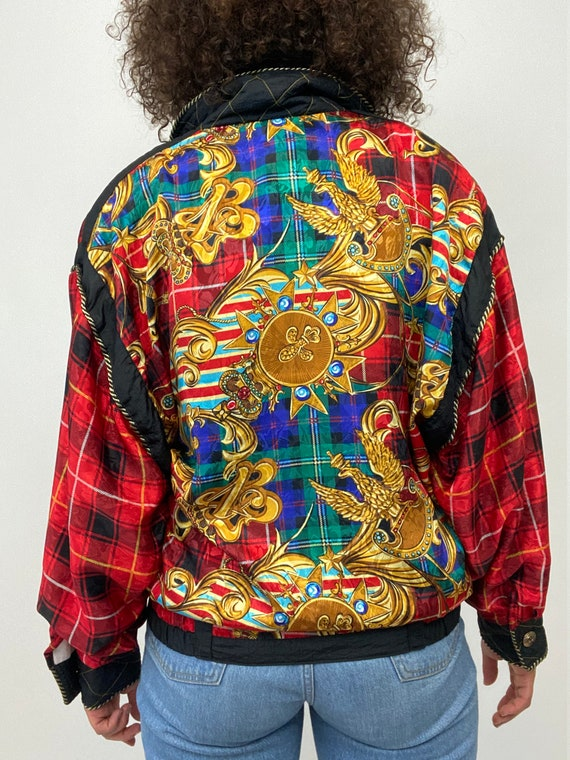 80s Bomber Jacket. 1980s Gold Chain, Red Plaid Si… - image 8