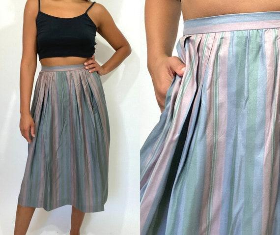 80s Silk Skirt. 1980s Striped Green, Gray, Grey, P