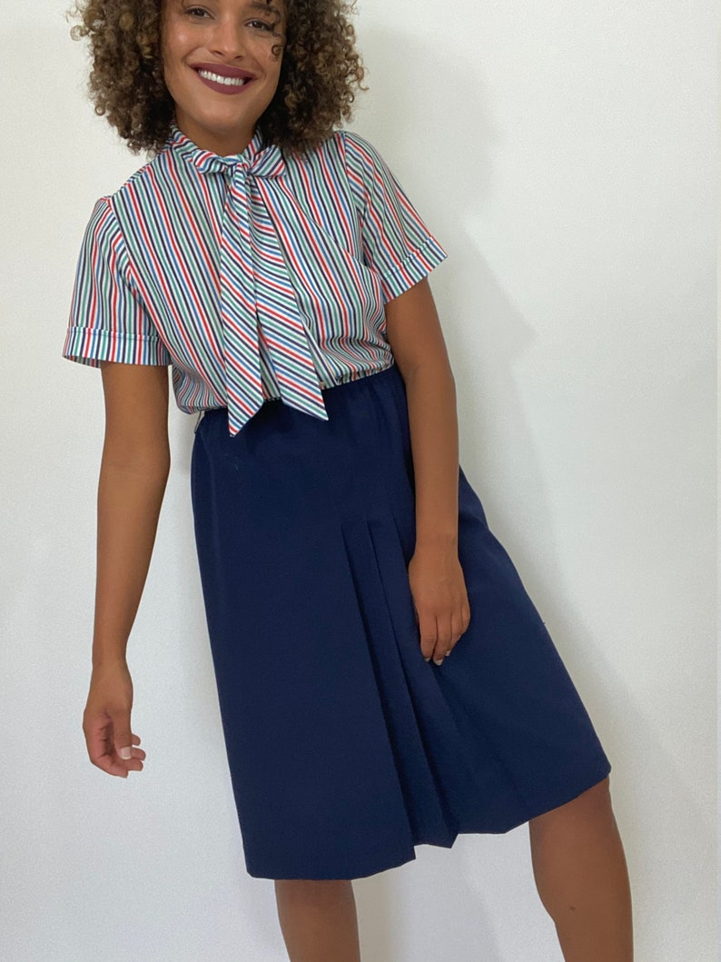 White and Blue Striped Dress Medium. 1970s Short Sleeve Dress 70s Red