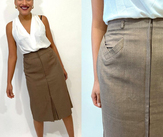 40s 50s Brown High Waist Skirt. 1940s 1950s Pencil
