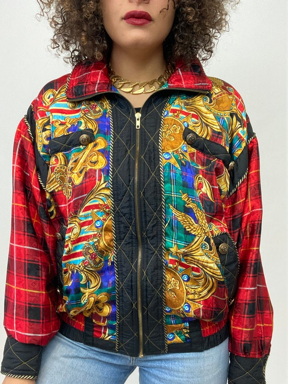 80s Bomber Jacket. 1980s Gold Chain, Red Plaid Si… - image 9