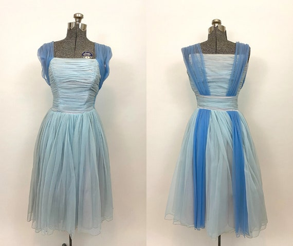 50s Blue Chiffon Dress. 1950s Sleeveless Cocktail