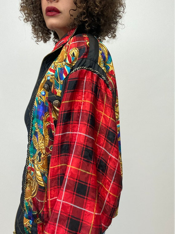 80s Bomber Jacket. 1980s Gold Chain, Red Plaid Si… - image 5